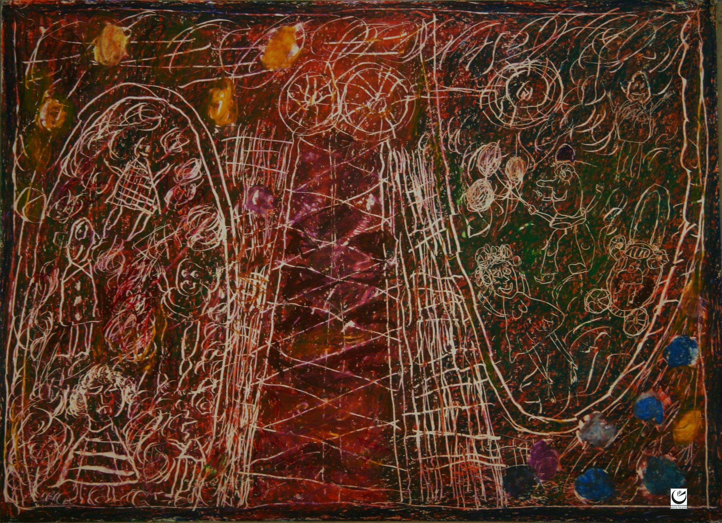 Luna Park Series, wax crayon on paper, 2017
