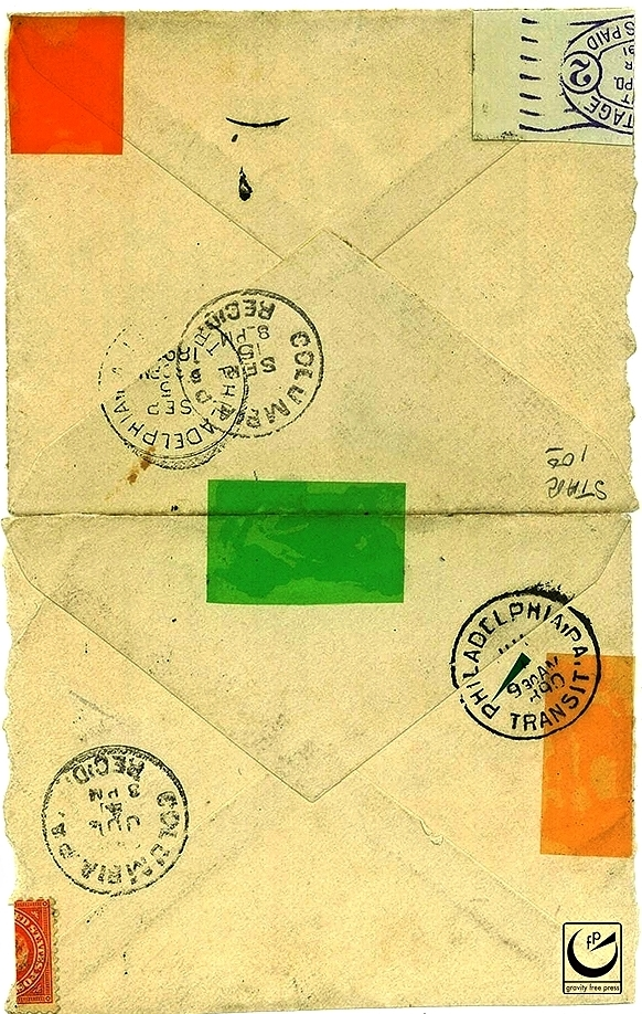 "Untitled, 4 x 5,"" envelope, colored plastic, stamps, 2014"