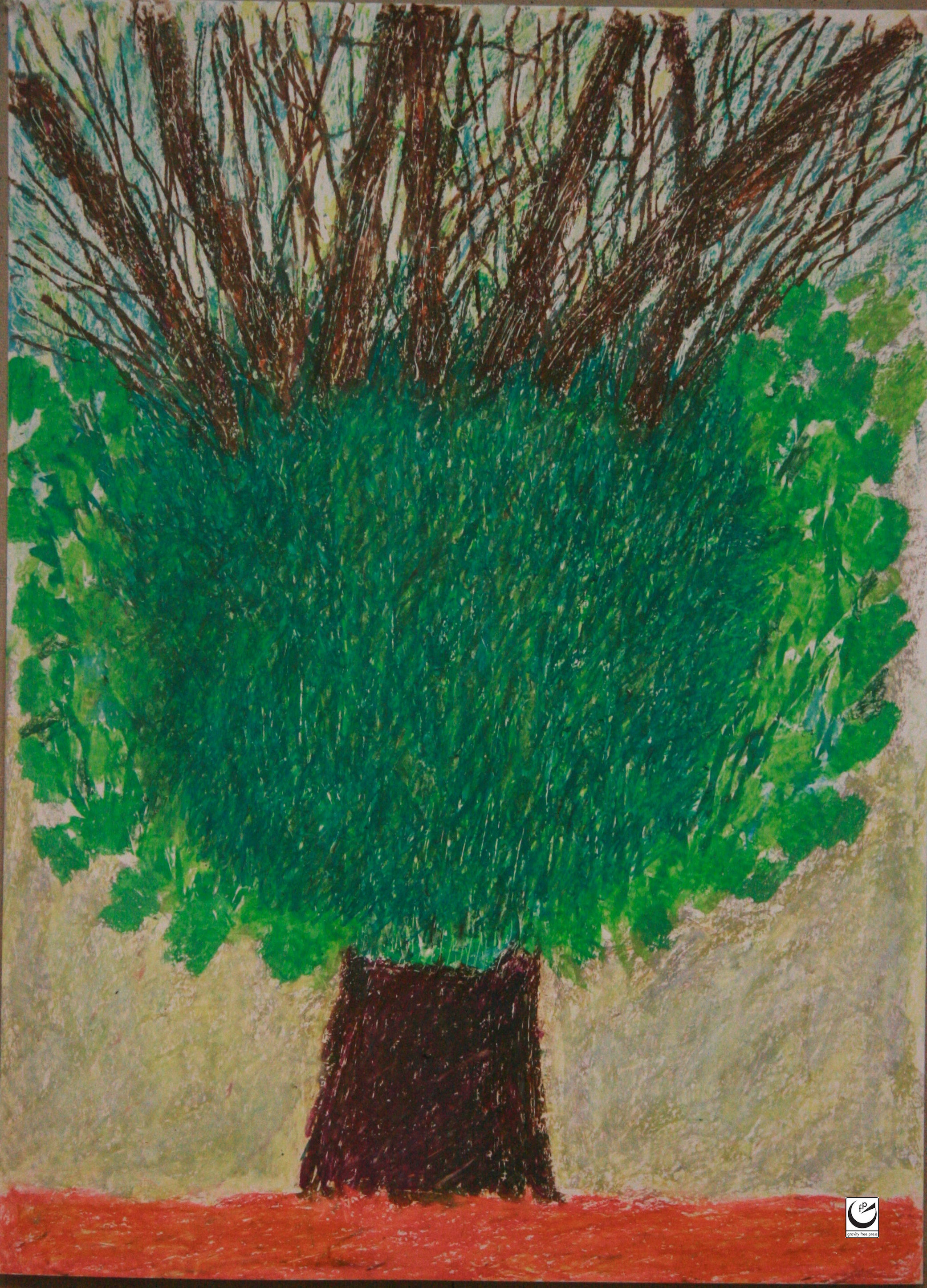 "Tree Series, 22"" x 30,"" wax crayon on paper, 2018"