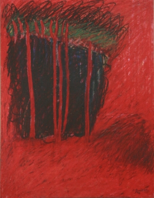 """Group of Trees. 1990. Wax Crayon on paper. 18 x 24"""""""