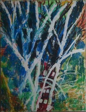 Landscape. Wax crayon on paper. 2018.