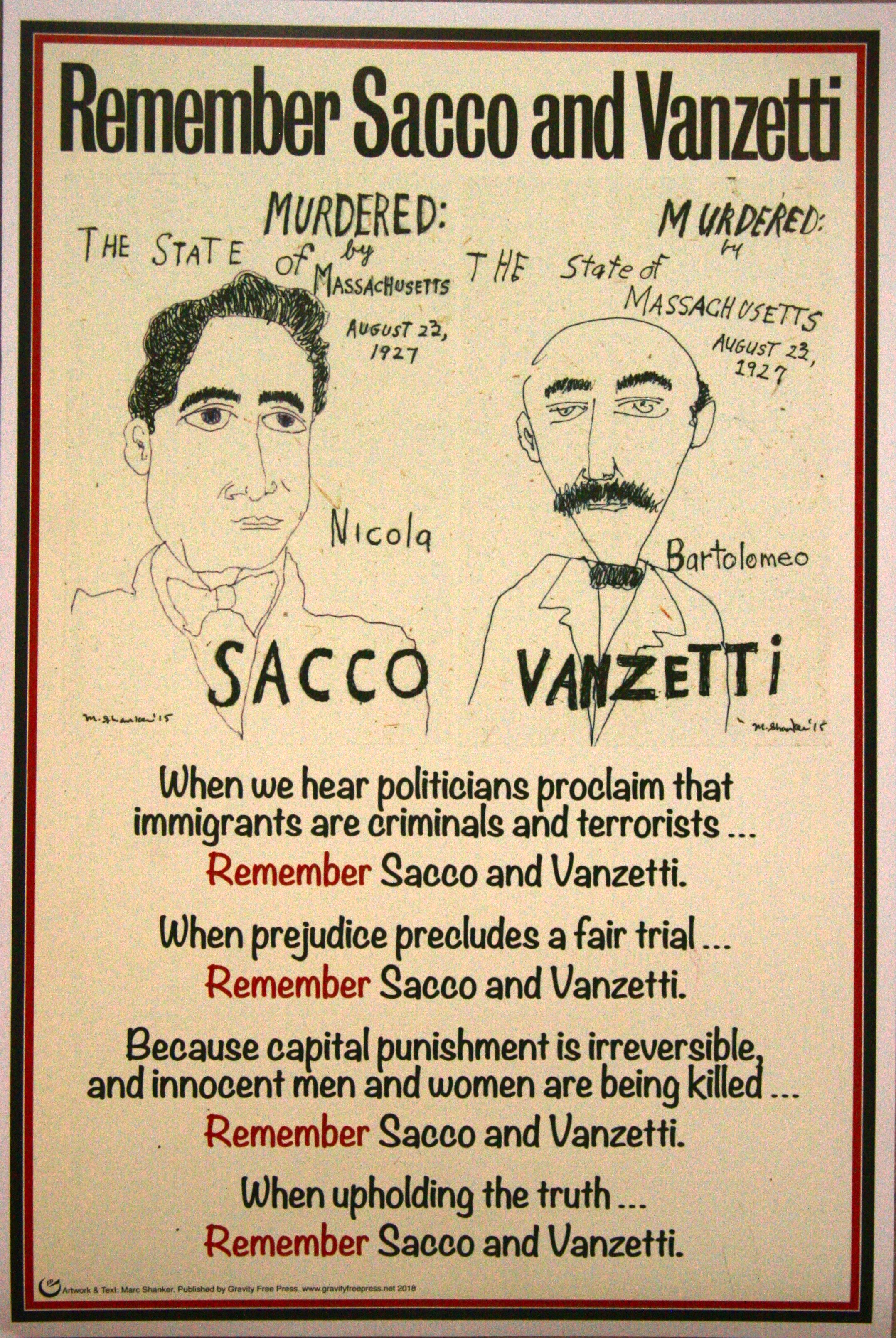 "Sacco and Vanzetti,   18""x 12"" Digital Print on cover stock.   $20 (Incl. mailing in the US)"