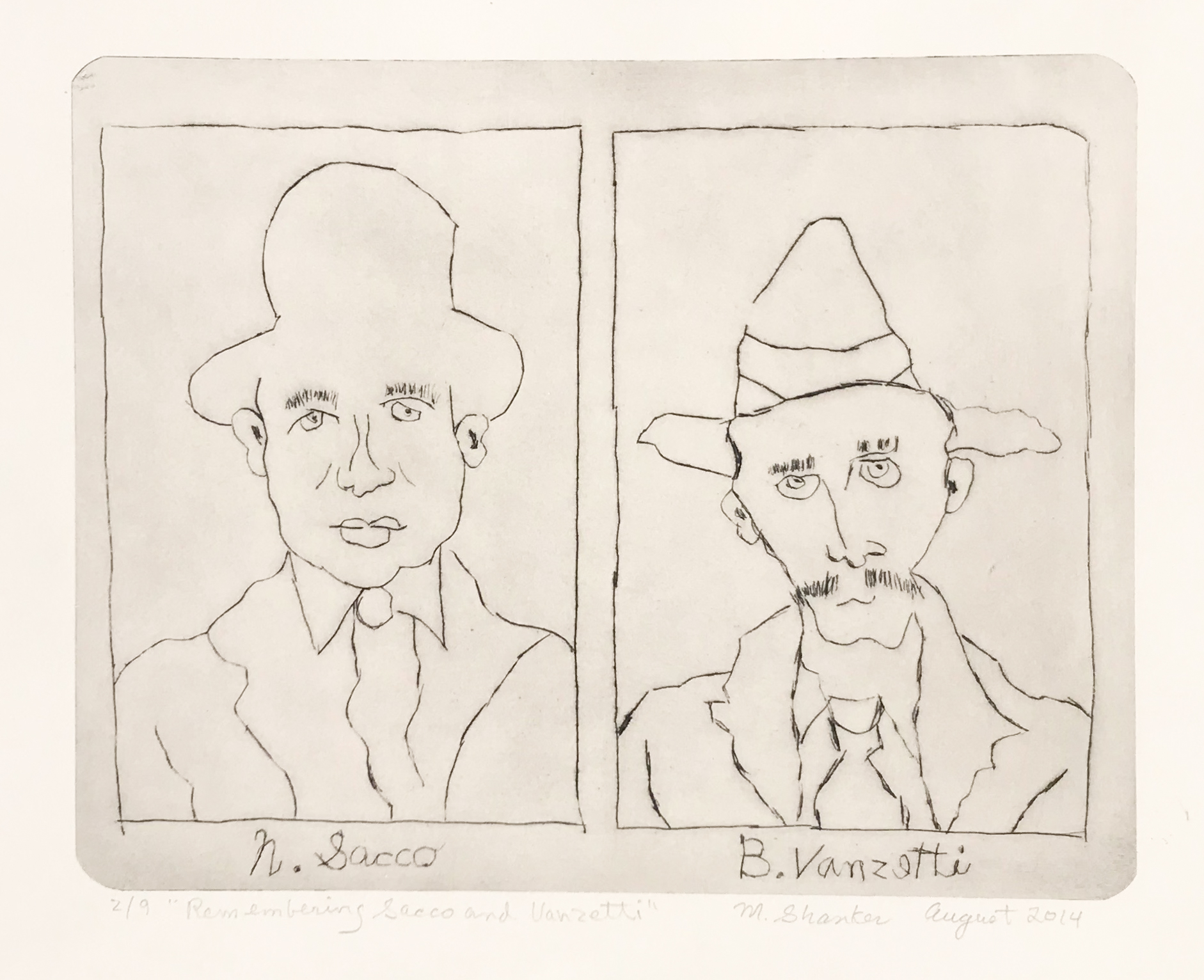 """N. Sacco and B.Vanzetti, 2014. Drypoint, 11"""" x 15"""" Edition of 9."""