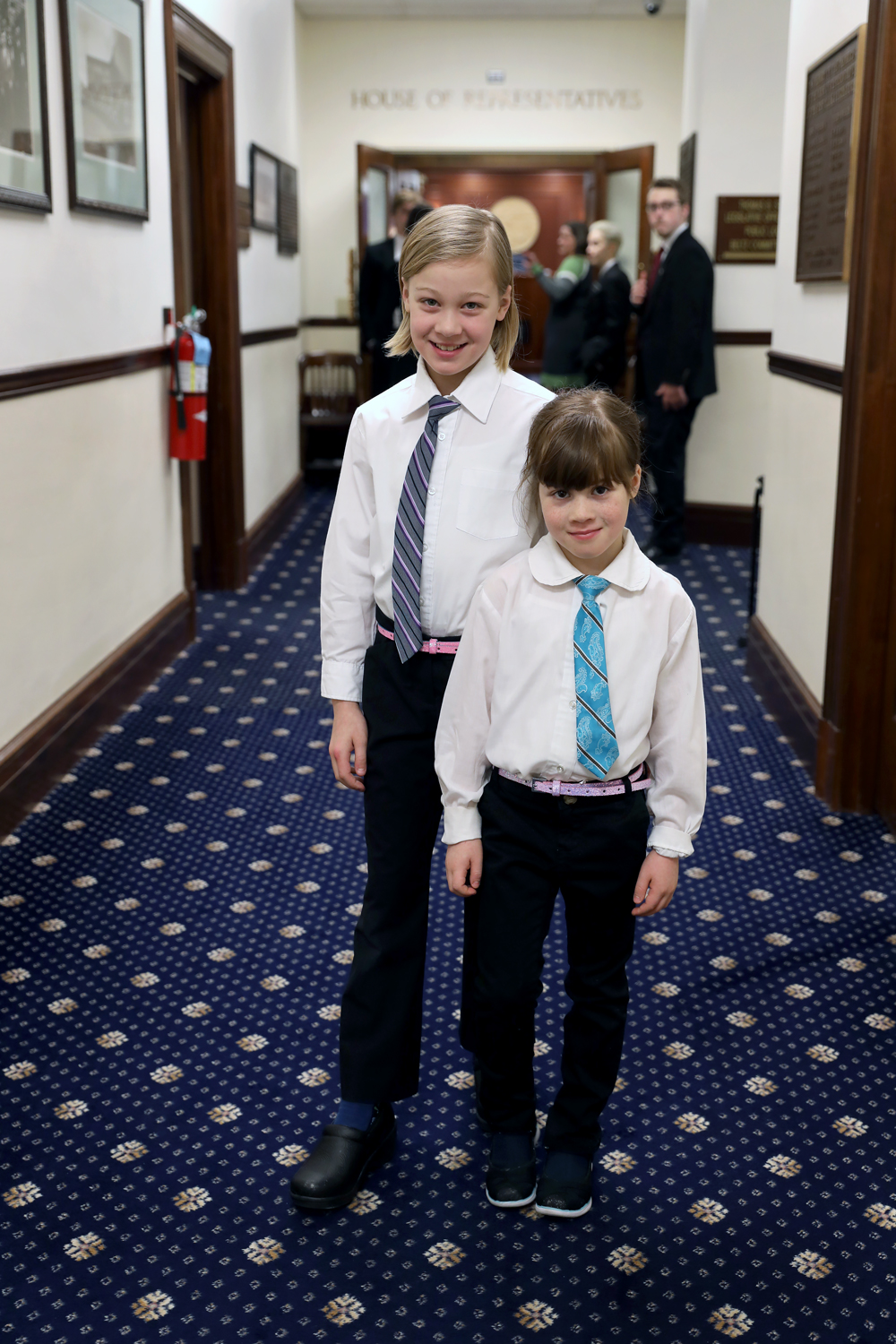 Evelyn (left) and Abby Wool, Guest Pages in the House of Representatives