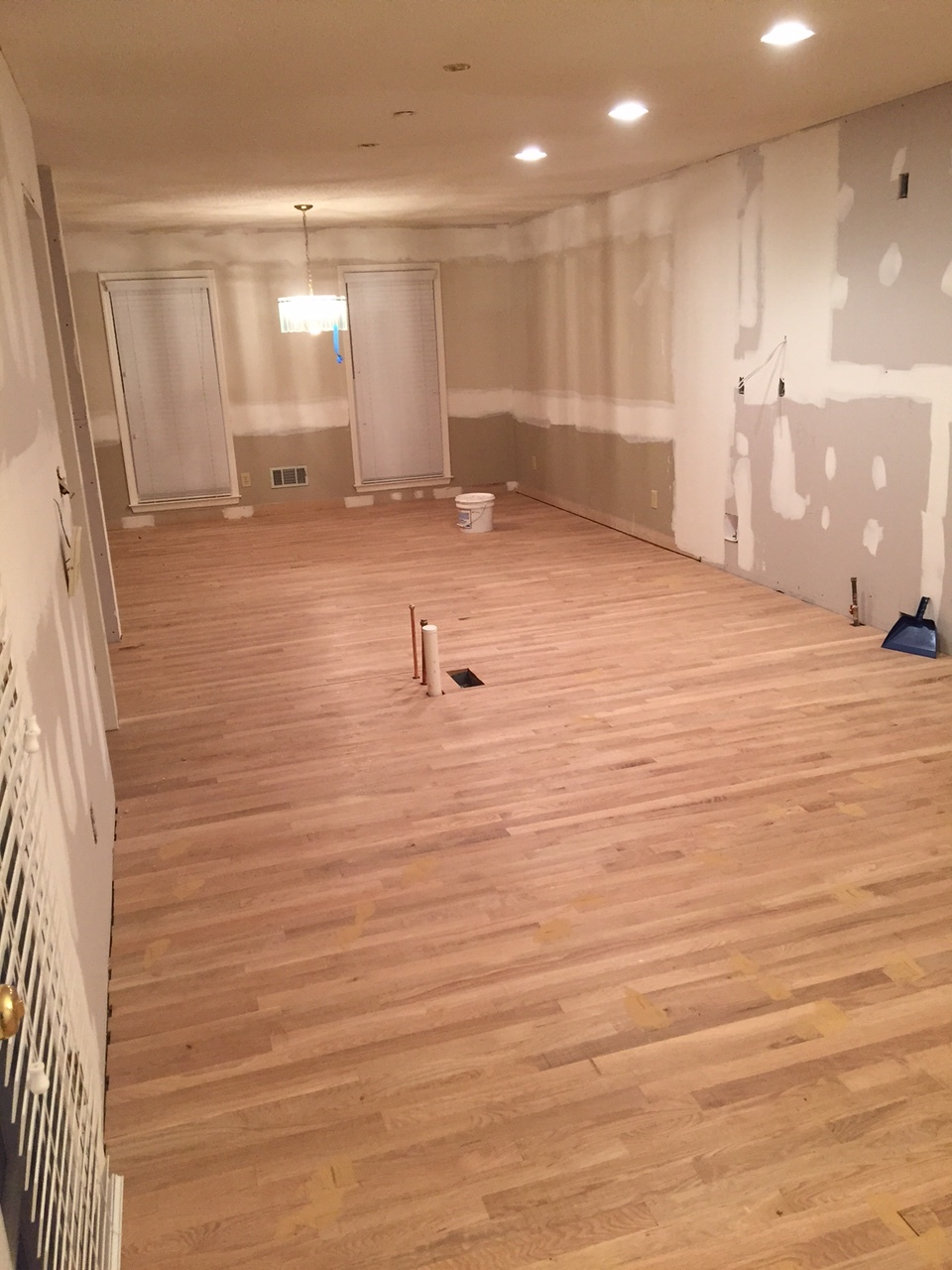 This gives you an idea of the space opened up when we removed the wall dividing the kitchen and dining room. Open concept here we come!