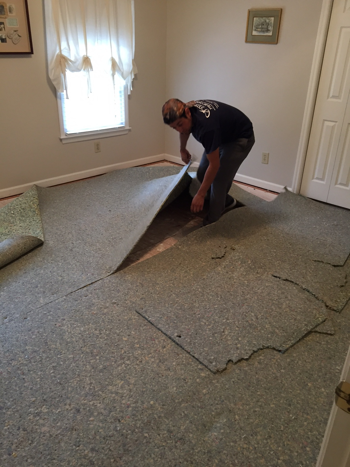 Plush carpet pad ready to go both upstairs and down.