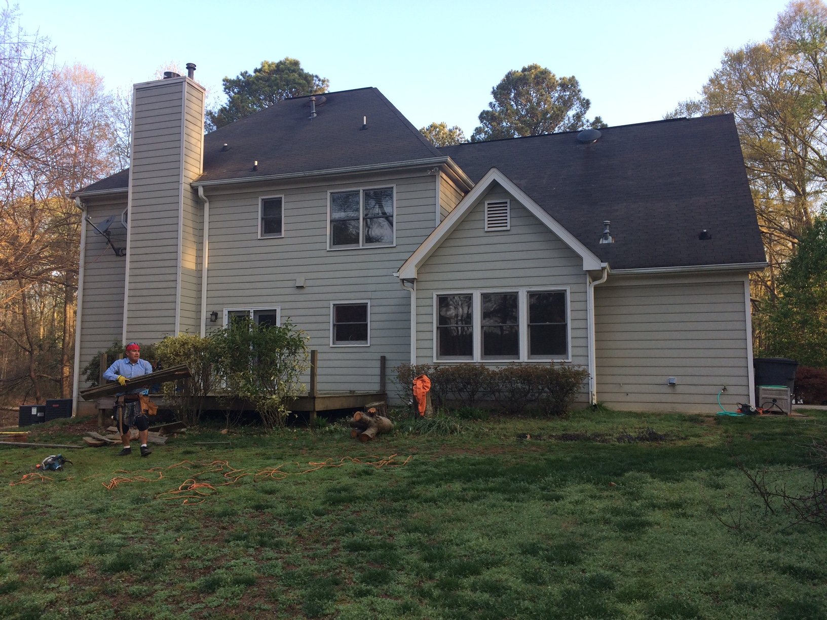 New Project -- before demo. We worked with these clients for a lengthy period of time to balance their budget with their needs. As a team, we perservered, and this week we are starting an addition. 8 foot bump out to the kitchen, a master bath redo, covered porch, & open deck.
