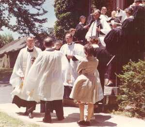 Leaving Church - 1955 (Rev. Thompson's back is shown)