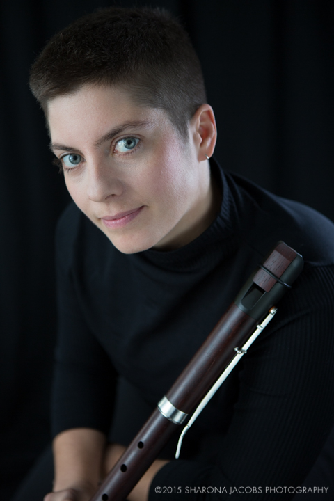 Classical musician, Emily O'Brien, with modern recorder, in Boston, MA