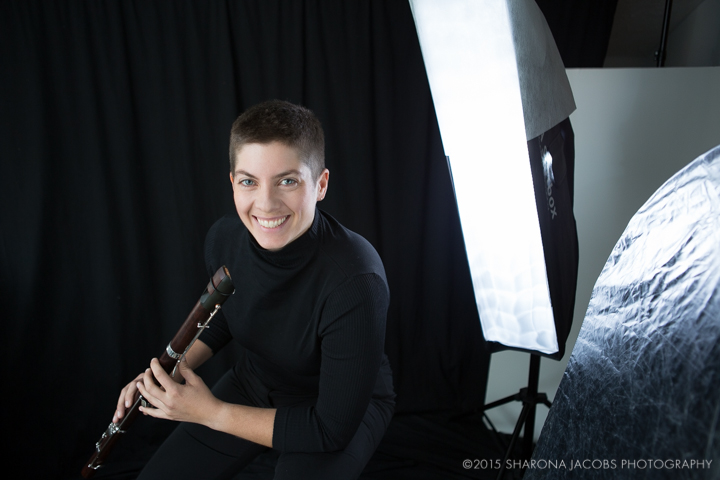 Behind the scenes in the studio with Emily O'Brien playing the modern tenor recorder. Boston, MA.