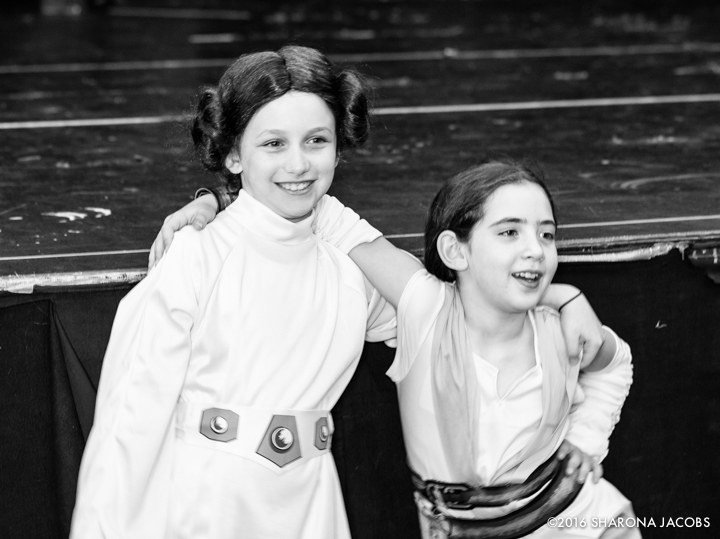 Susie as Leia, Lilia as Rey, our strong female protagonists (and buddies since age three and six months).