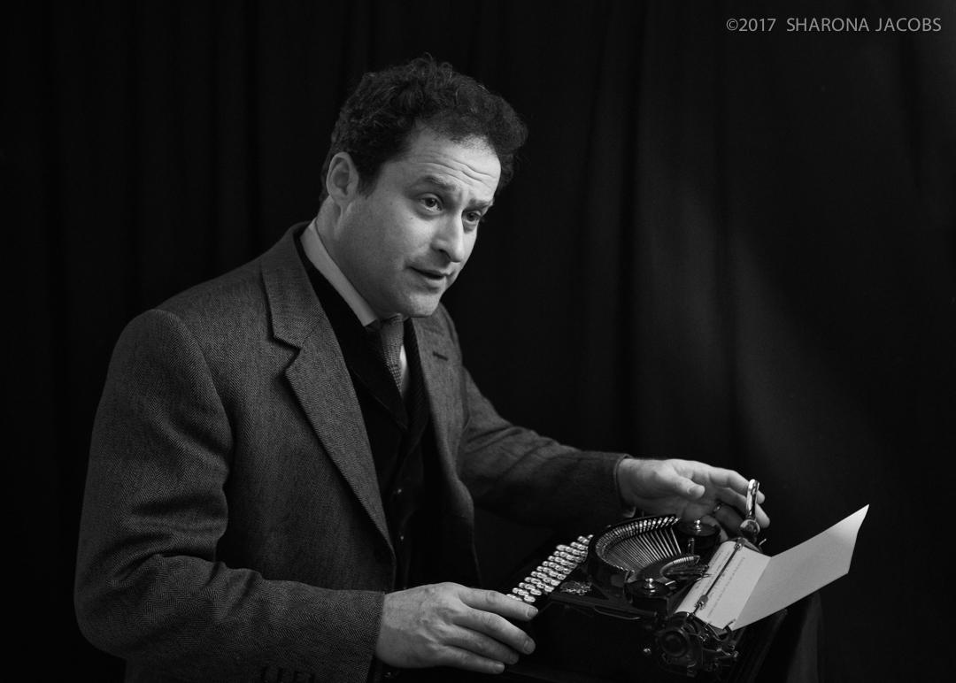 Dominc Green, writer and jazz musician, on his manual typewriter.