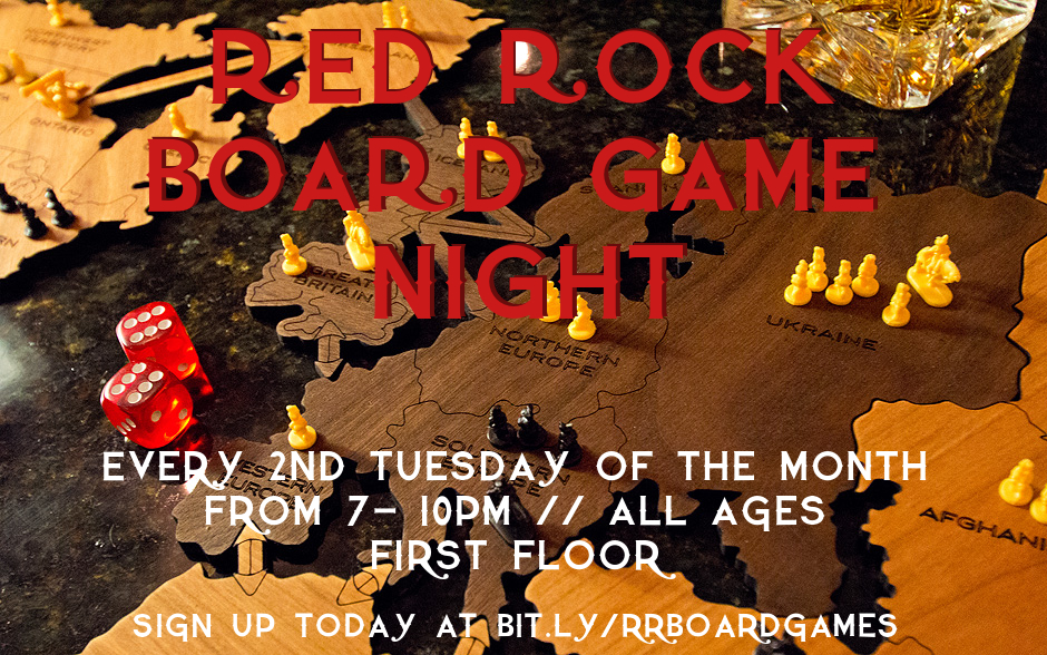 Settlers of Catan, Tiny Epic Western, Burgle Bros, Takenoko... If you recognize, love, or hate these and other similar tabletop games, then you need to check out Red Rock's new board game night. We'll be playing on the second Tuesday of every month, 7-10pm, starting in June. To hear more and to reserve your seat at a table, join our Google group at the button below.