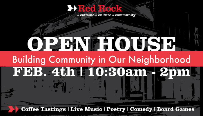At Red Rock, we are all about community! That's why we are hosting an open house event. This will be a time to experience all the things that go on during the week and month, and get a flavor of the Red Rock Culture.  Come and enjoy Coffee, live music, board games, and more!  Coffee Tastings will be happening on the first floor at 11am and 1pm