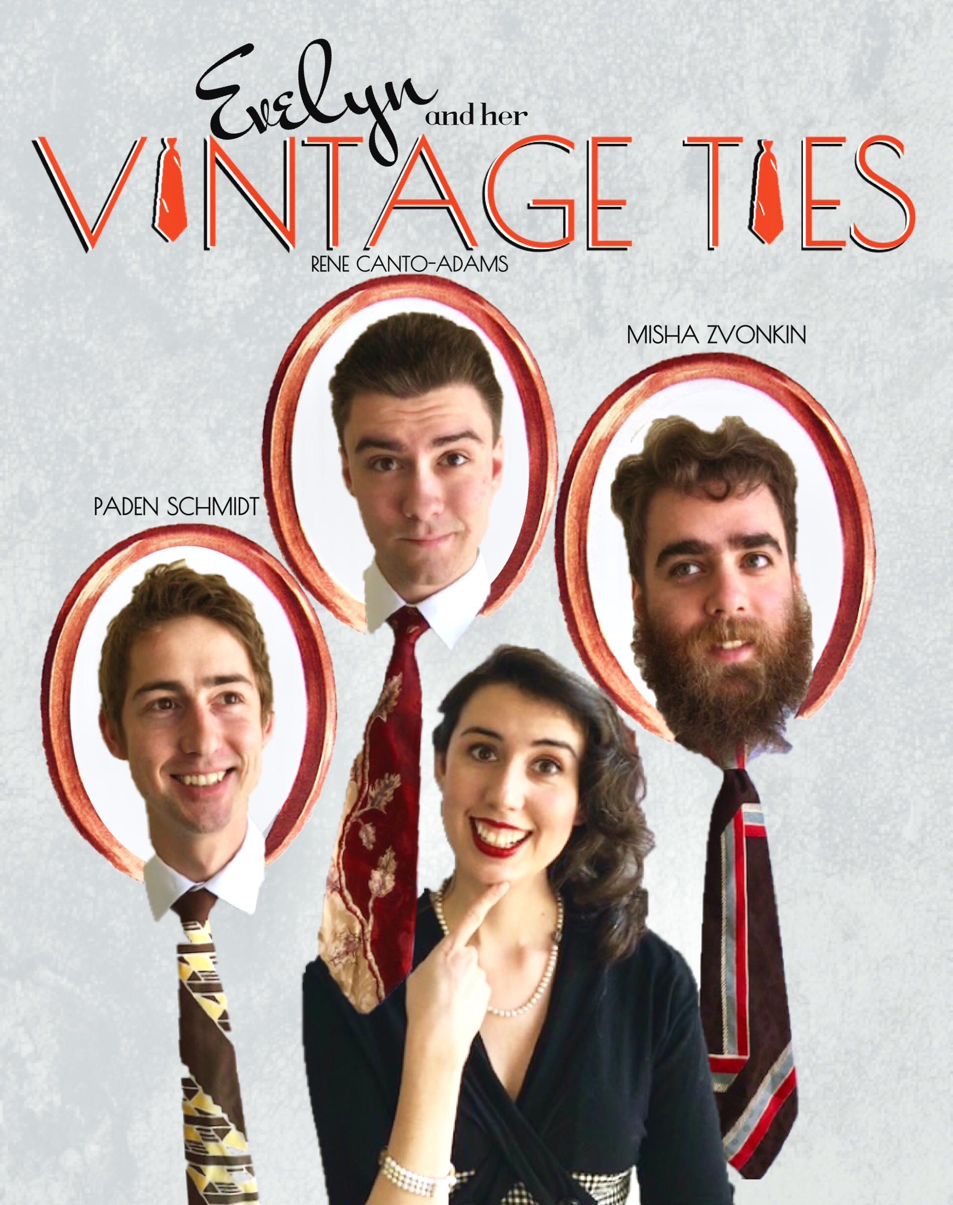 Evelyn and her Vintage Ties is a retro jazz band based in Silicon Valley. Drawing inspiration from 1930's musicians such as Billie Holiday, Benny Goodman, and Django Reinhardt, the group has a playful, classic sound. Their repertoire is a mix of everything from swing standards to New Orleans blues.