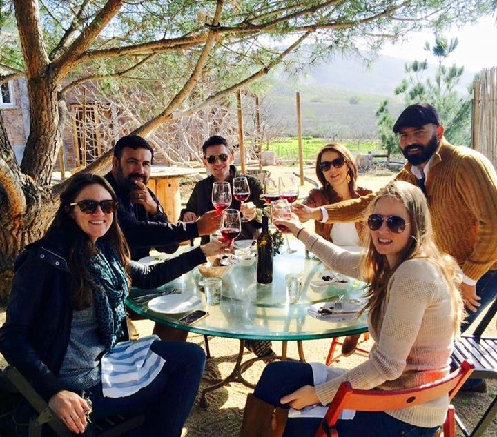 Katie (front right) and her friends, all Baja California residents, enjoying lunch under the pine trees at El Pinar de 3 Mujeres in Valle de Guadalupe.