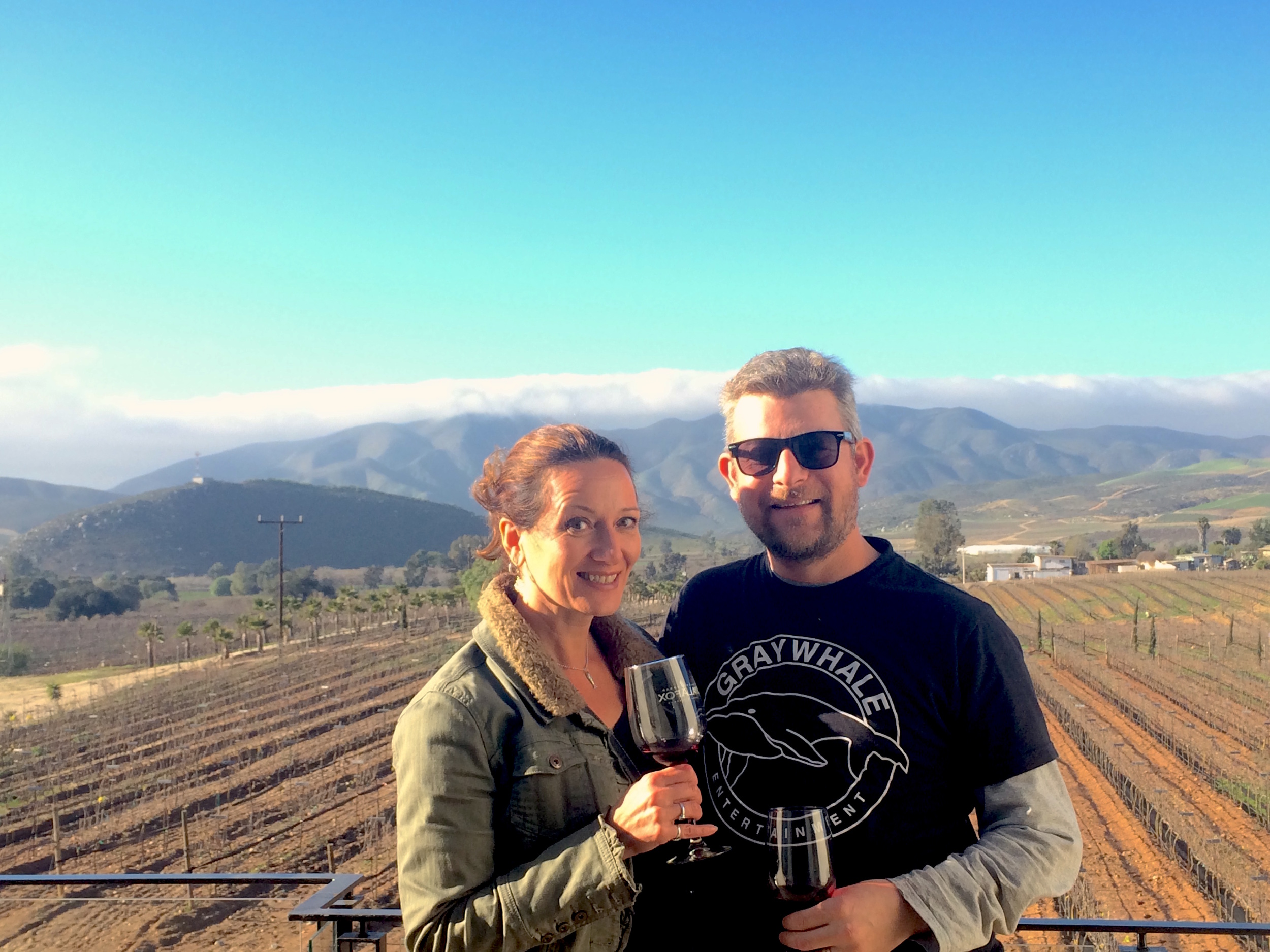 Marianna and her husband Todd enjoying the wine and expansive views from Palafox winery.