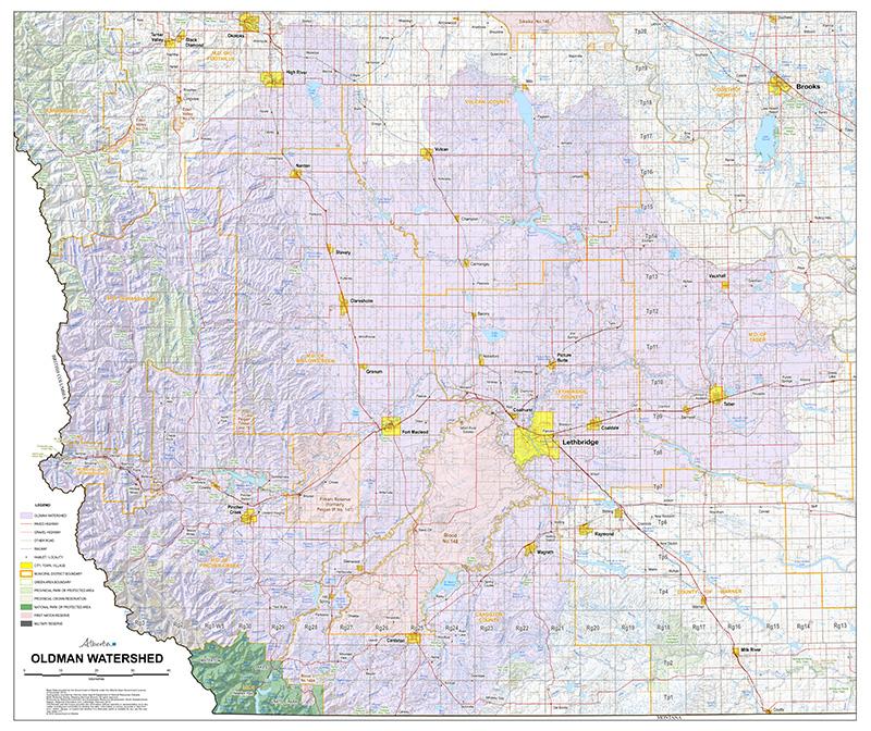 Detailed Oldman Watershed Map