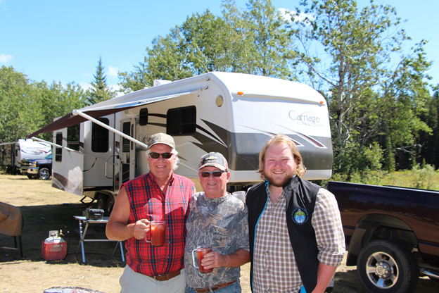 Outreach Assistant Adam Janzen (R) and campers out in Dutch Creek Aug 2015
