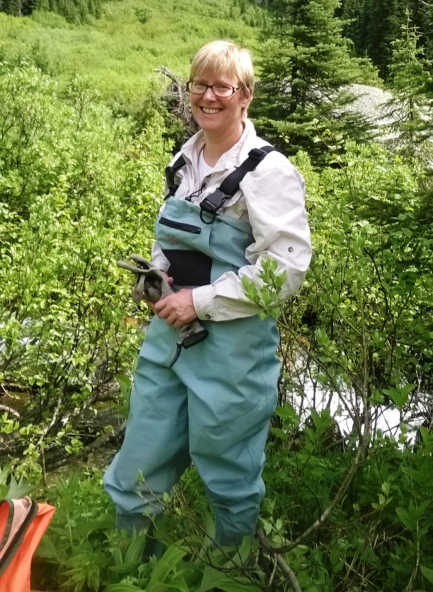 Kim Green PhD, P.Geo., watershed doctor, getting ready for my day at work