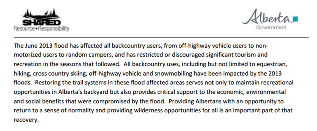 Excerpt from   Backcountry Trail Flood Rehabilitation Program   © 2014 Government of Albert