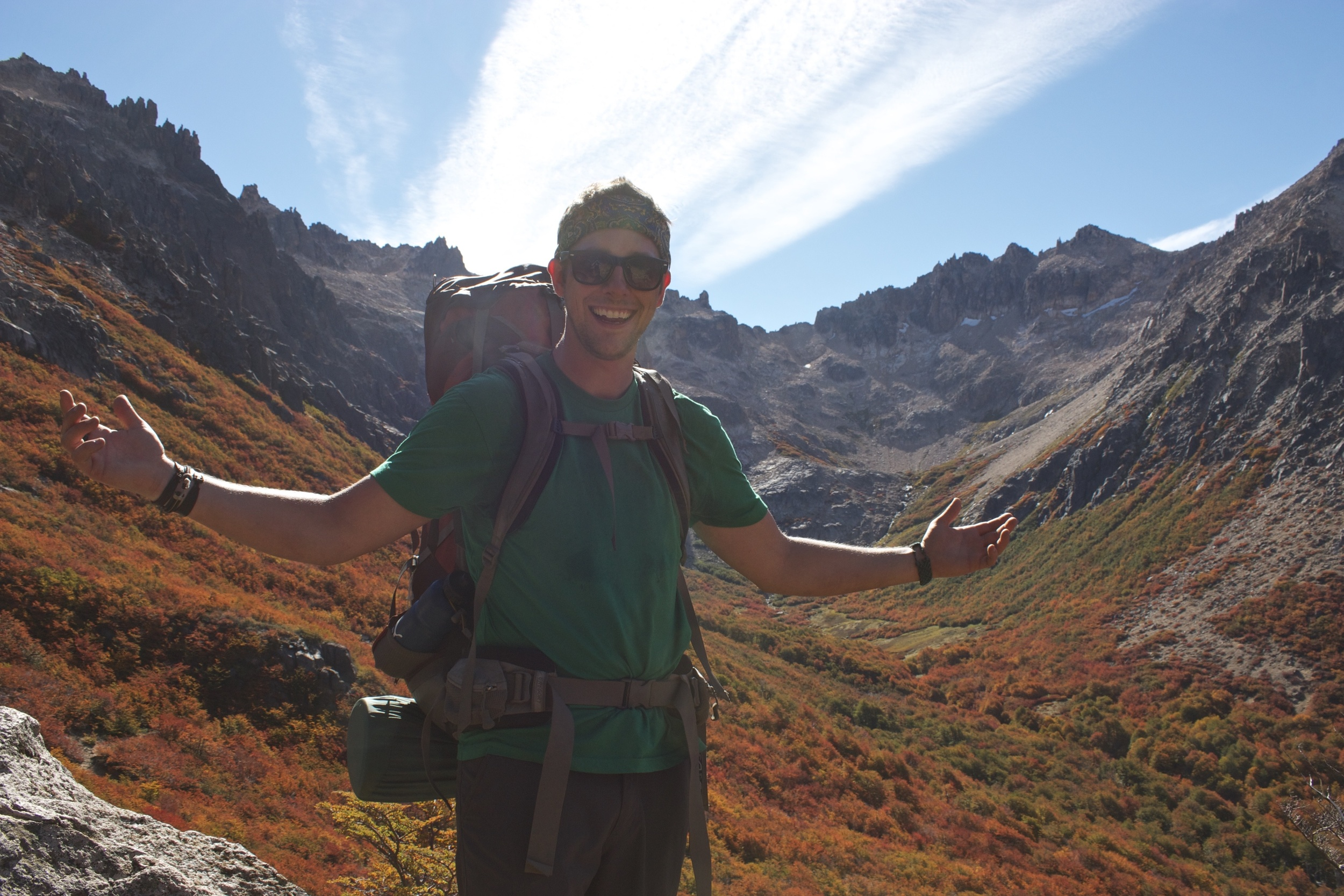 Backpacking near Bariloche, Argentina in gorgeous fall weather