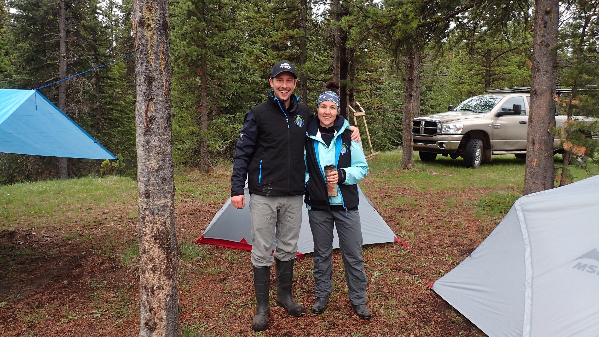 Ryan and Nicola setting up camp in the rain