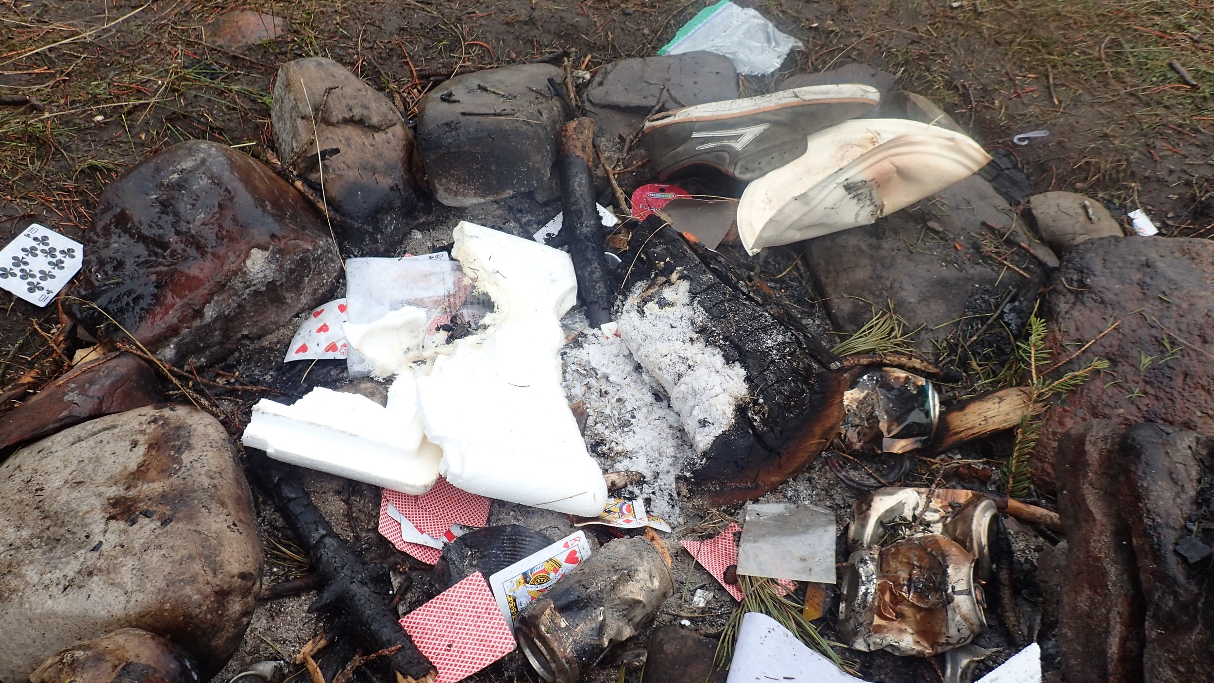 Respect the environment and fellow campers and don't leave your campsite like this!Pack out what you pack in.