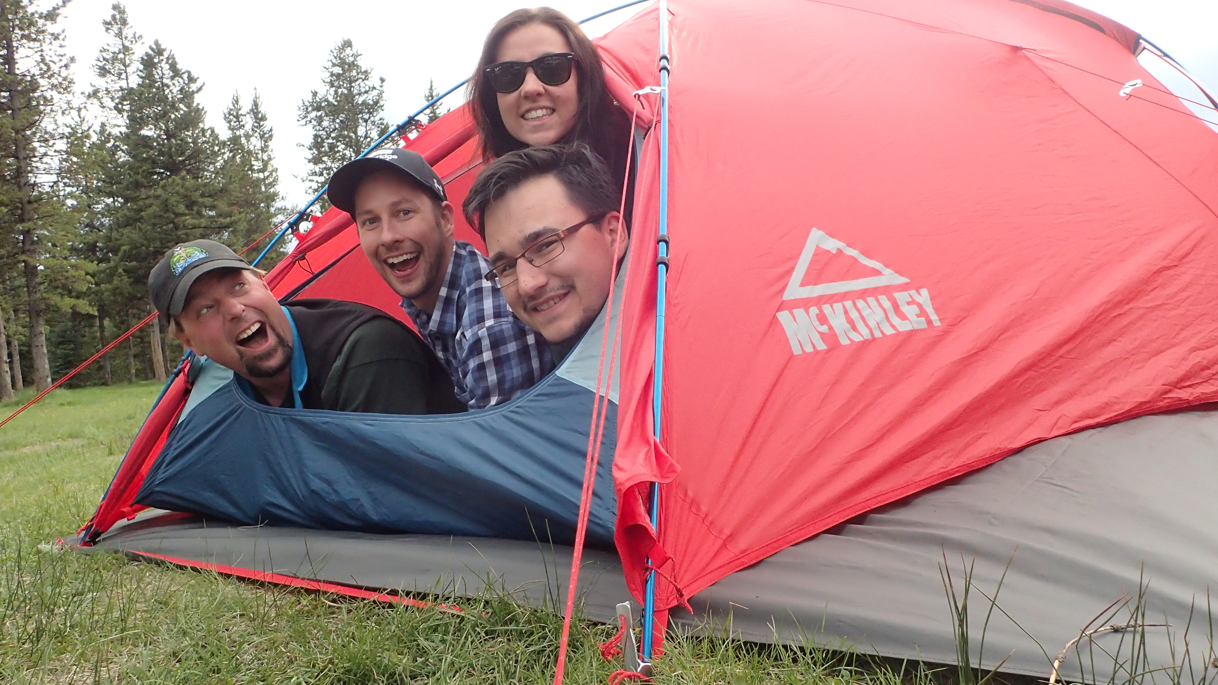 The Outreach Assistants get cozy in the backcountry!