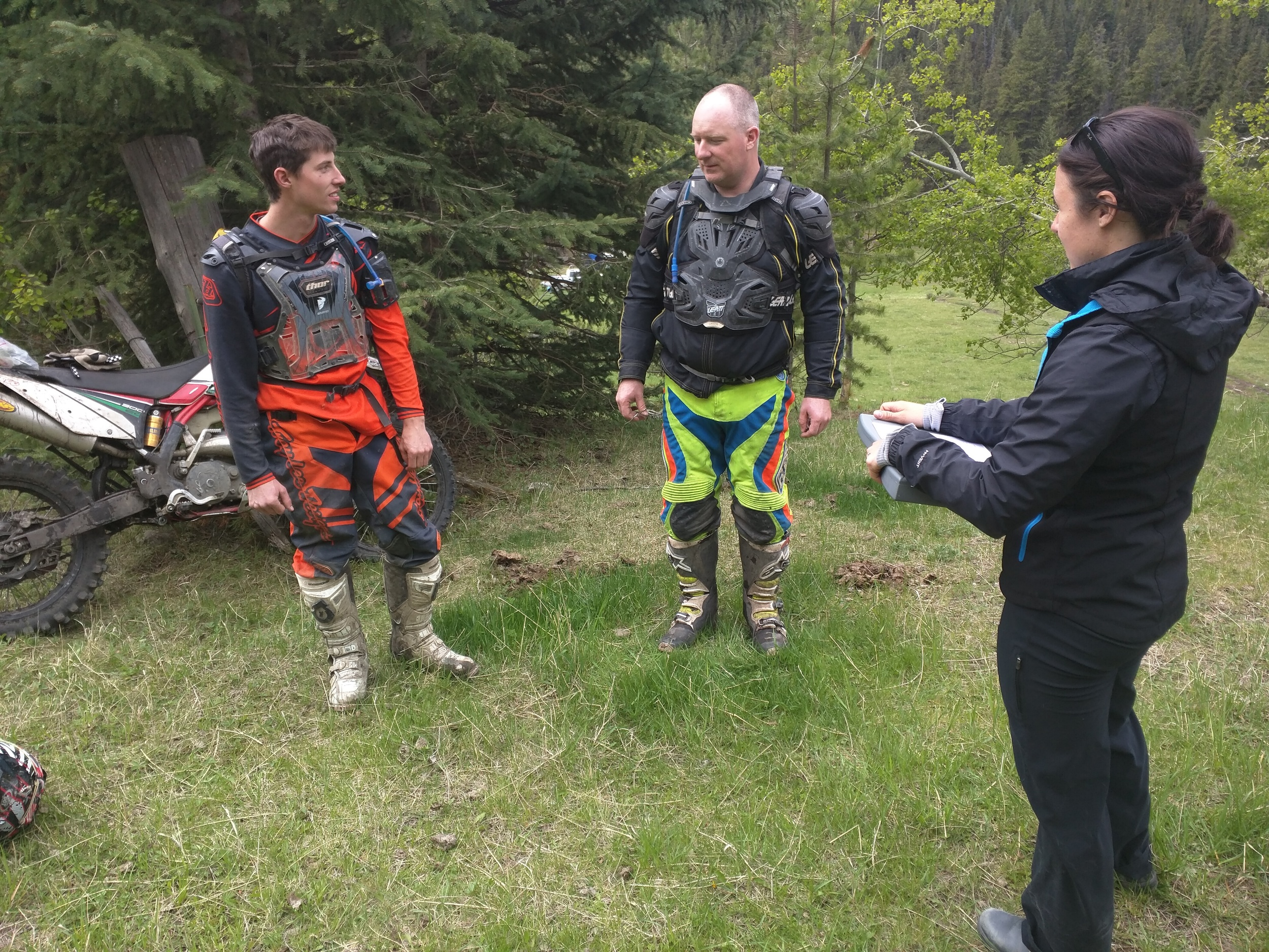A couple of OHV enthusiasts take time to fill out a survey with Nicola.