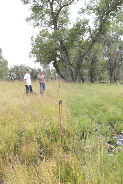 Cody and Uriel inspecting the new riparian fence.