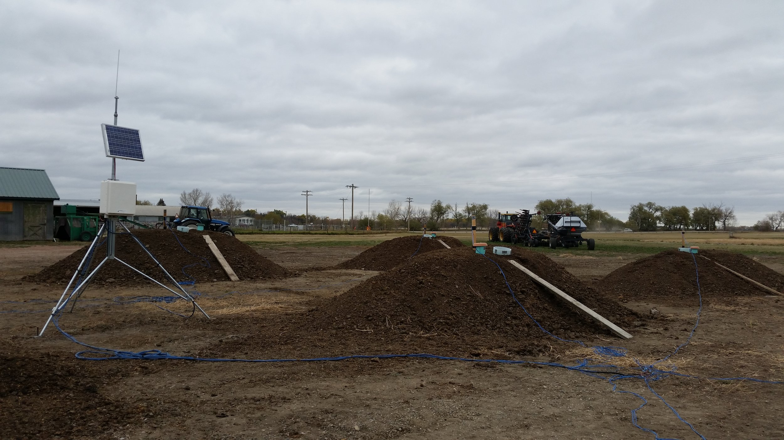 Piles of composting manure at the Agriculture and Agri-Food Canada facility.