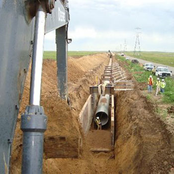 Pipeline construction leaves a scar on the prairie that is difficult to reclaim.