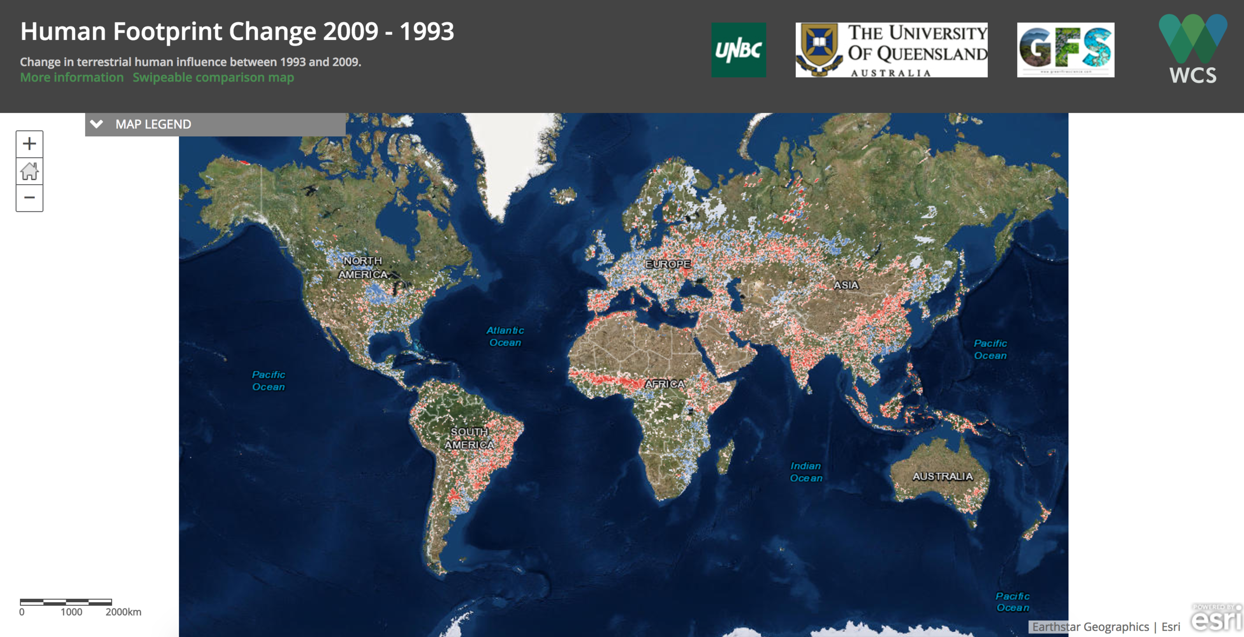 The human footprint map measures the cumulative impact of direct pressures on nature from human activities. Visit at  http://wcshumanfootprint.org