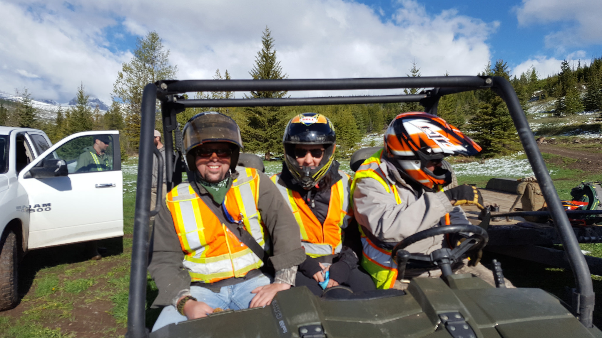 Photo Credit: Rob Taylor  OWC Seasonal Staff using an OHV to access a backcountry site for a restoration project in the Lost Creek area.