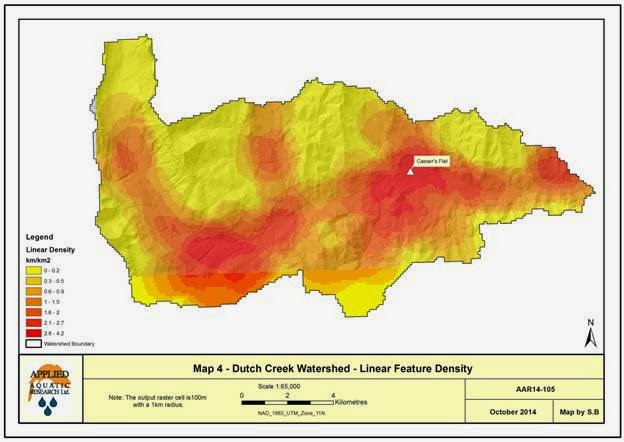 Map of the linear features density in the Dutch Creek Watershed. Map created for the Dutch Creek Linear Features Classification Project. See a previous OWC blog about this here:  https://oldmanwatershed-council.squarespace.com/blog-posts/2015/01/linear-features-in-oldman-watershed.html?rq=Dutch%20Creek
