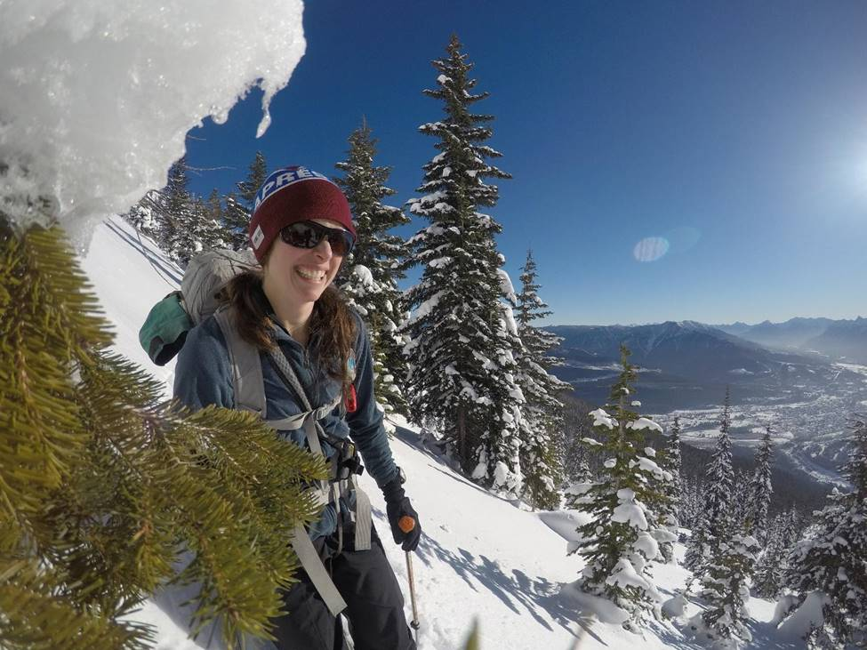 Nata ski touring on Mt. Proctor with the town of Fernie in the background