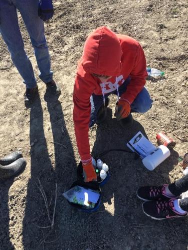 Matt getting in on the soil testing.
