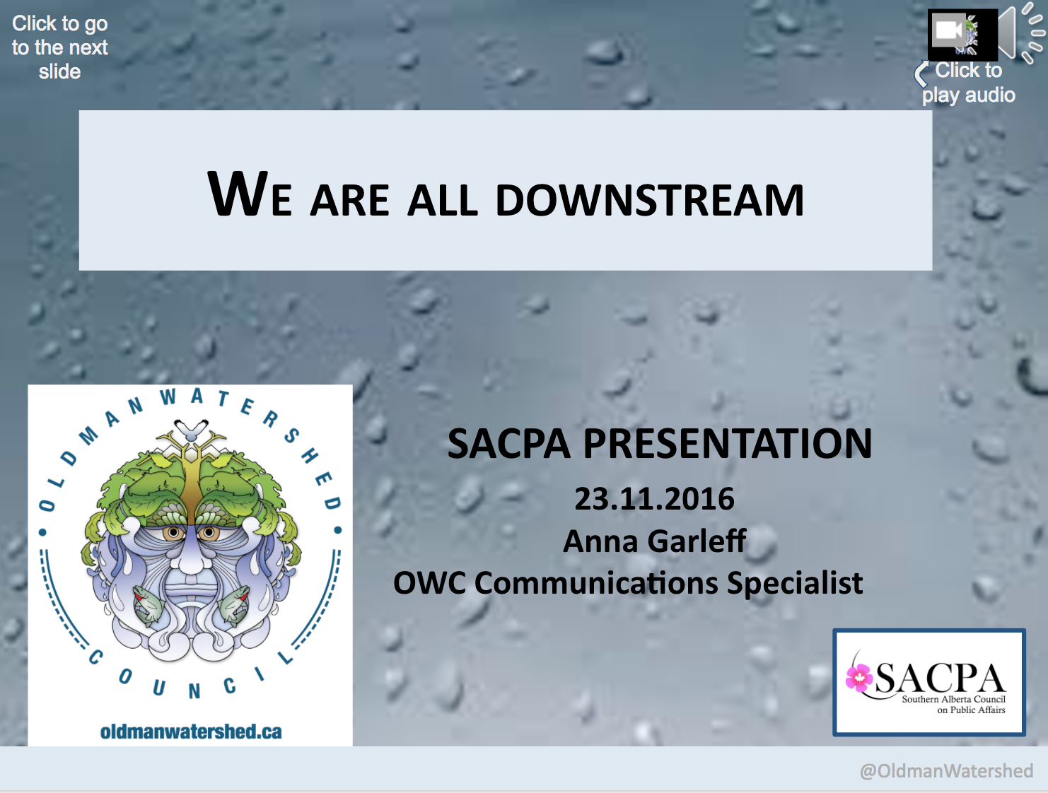 Film Project Update - Presentation slides from SACPA event on November 23, 2016,which provided an update on the film project and related endeavours.