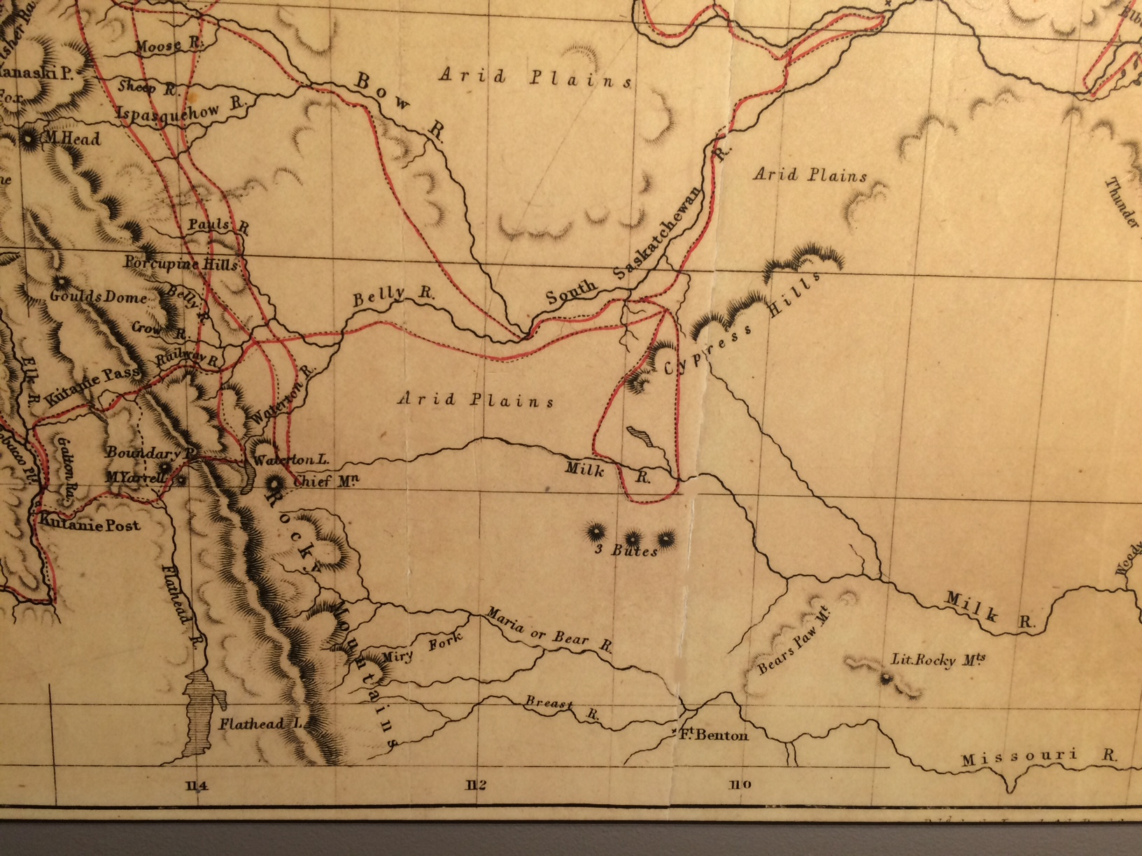 """1859 map by Captain John Palliser. Note the Oldman watershed simply says """"arid plains"""", which he described as """"unfit for human habitation""""."""