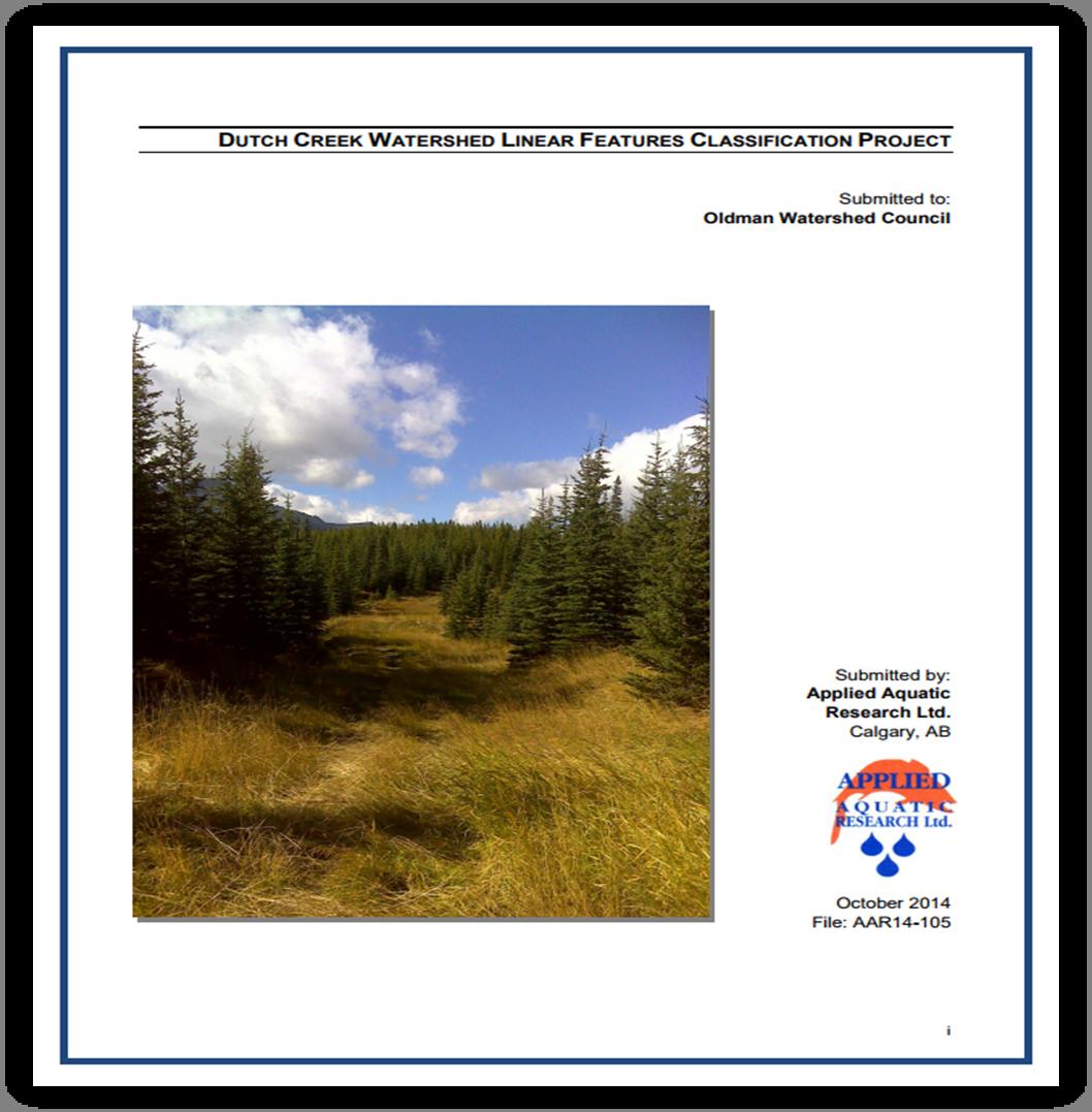Dutch Creek Linear Features Classification Project - 2014