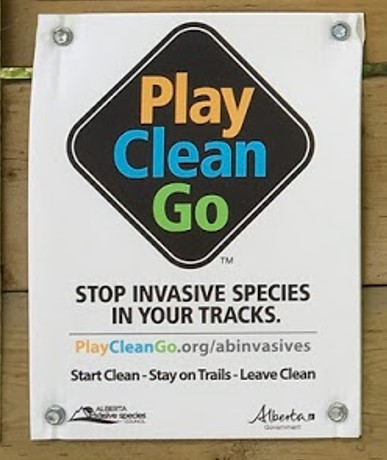 Play Clean Go - All staging areas and trailheads should be marked with this sign, a black diamond with these three words inside. This sign serves as a reminder to backcountry users to stick to trails and clean their equipment after each use to help stop the spread of invasive species. When riding, plants will get stuck on equipment; these pieces of vegetation can hold seeds and if not cleaned, they can spread invasive species through public lands or back to the user's own house and property.