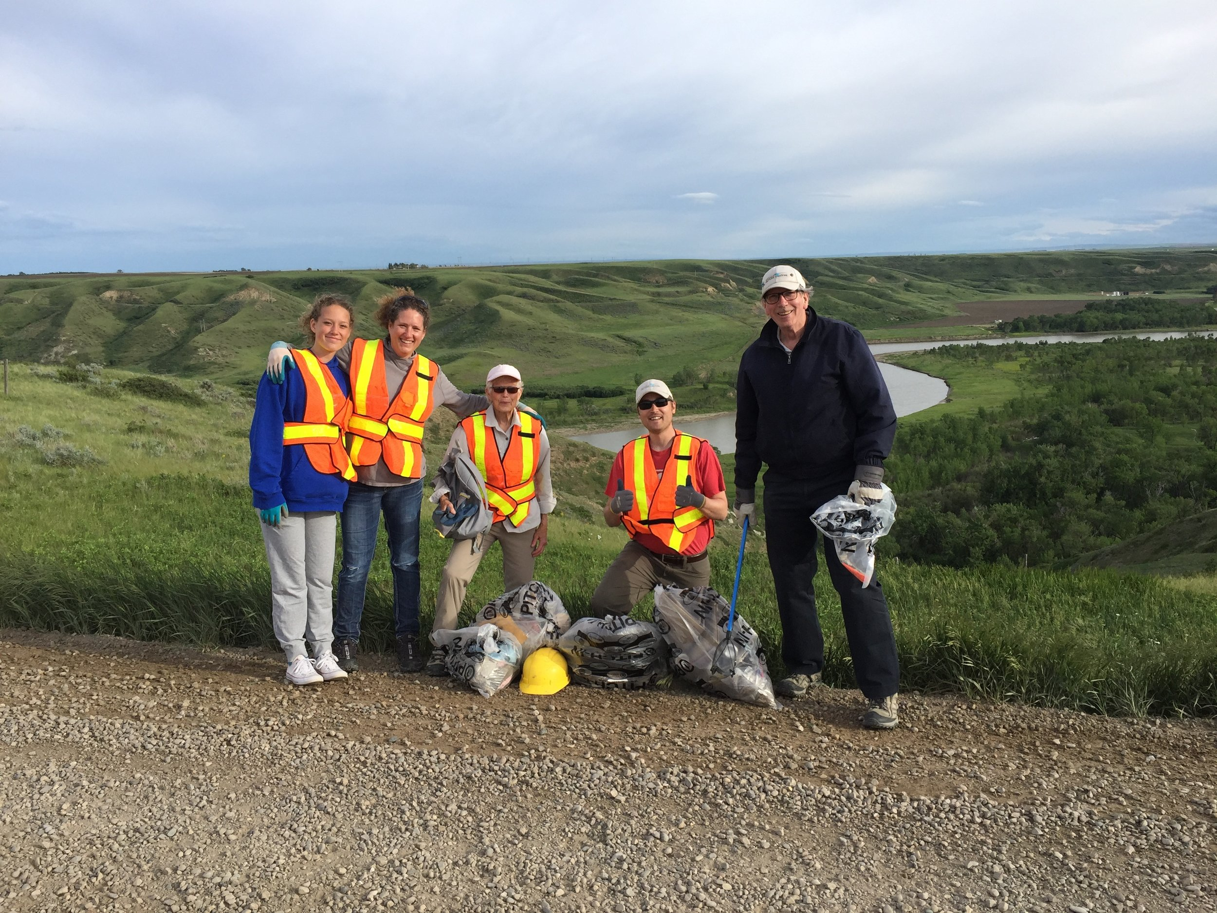 Friends of Helen Schuler Nature Centre Society Volunteers participating in Coulee Clean-Up