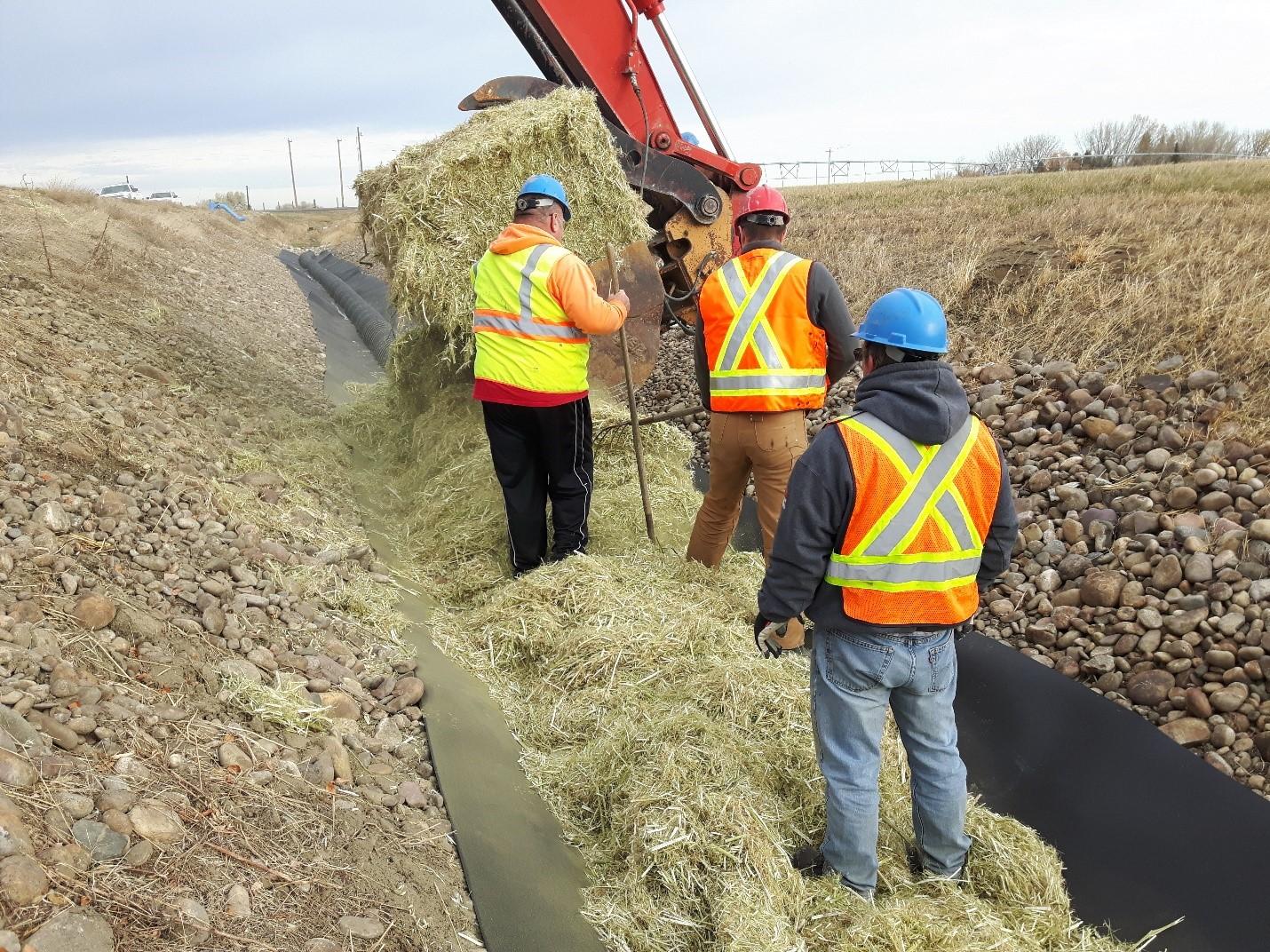 TID Infiltration Weir: Installing Hemp Straw – Looking Downstream