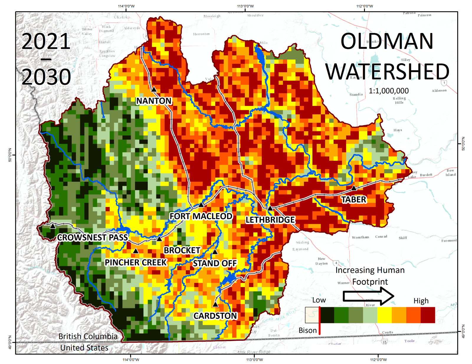 One of the maps from the timeseries - this one predicts linear footprint density 2021 - 2030 Credit: © Anna Garleff / Oldman Watershed Council