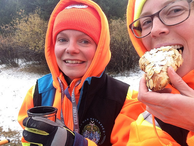 OWC's Executive Director Shannon Frank, and Education Manager Sofie Forsstrom, braving the cold at an autumnn restoration event in the backcountry.