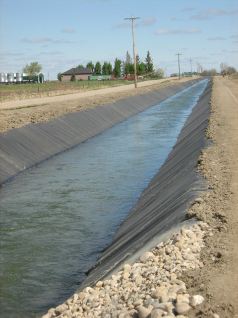 Canal membrane liner. Photo supplied by the Taber Irrigation District.
