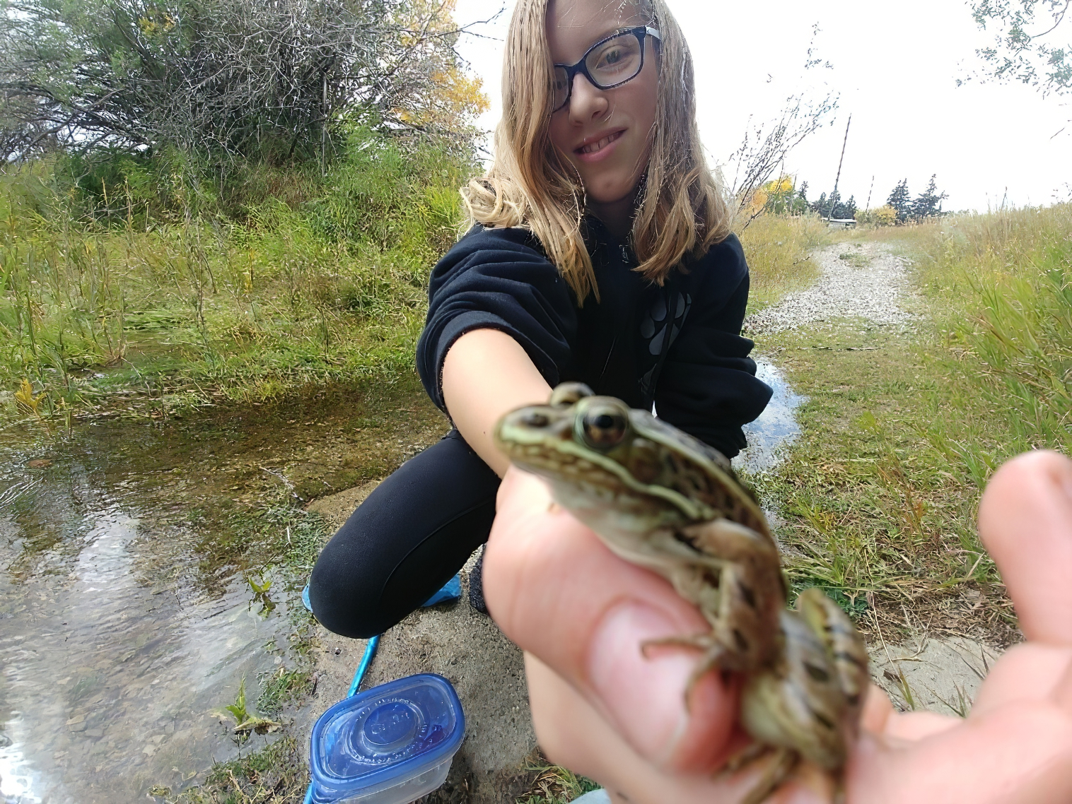 Grade 6 student Hazel is learning about environmental stewardship and the value of being an engaged citizen in the Magrath Nature Trail Project. Photo: Don Peel.
