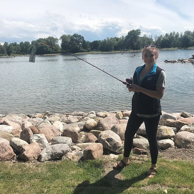 Sydney practicing with our magnetic fishing game for the long weekend! Come try for yourself Monday from 12-4 at Henderson Lake for some Canada Day fun! 🌞#abwater #oldmanwatershed #oldmanriver #canadaday #fishing #explorealberta #lethbridge #yql