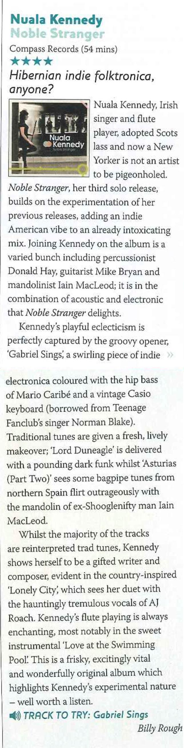 Nuala Kennedy Noble Stranger review Songlines.jpg